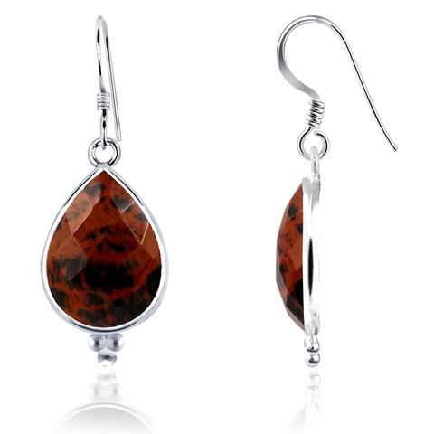 Mahogany Obsidian Sterling Silver Pear Dangle Earrings By Essence Jewelry