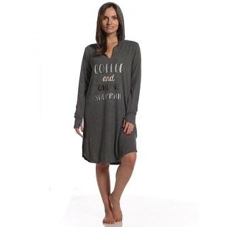 Rene Rofe Women's Pillow Talk Coffee & Shopping Hooded Sleepshirt