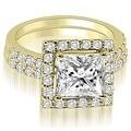 1.21 cttw. 14K Yellow Gold Princess And Round Cut Halo Diamond Bridal Set - Thumbnail 0