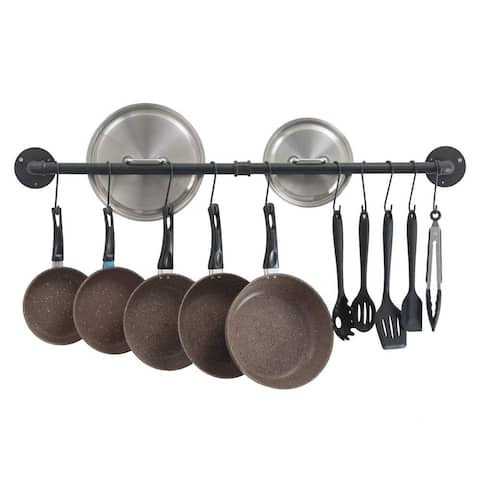 Pot Bar Rack Wall Mounted Detachable Pans Hanging Rail Kitchen Lids Utensils Hanger with 14 S Hooks Black