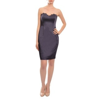 Jay Godfrey Figure Hugging Satin Scalloped Strapless Cocktail Dress - 4