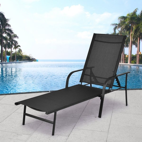 Costway Pool Chaise Lounge Chair Recliner Patio Furniture With Adjustable  Back   As Pic