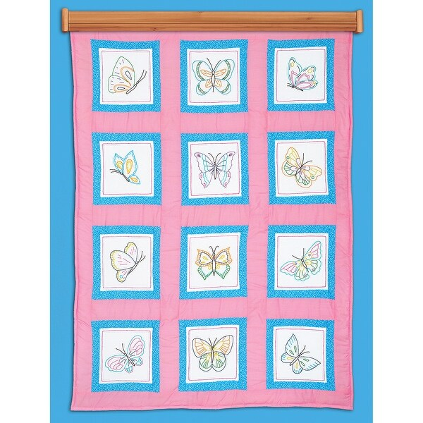 "Themed Stamped White Quilt Blocks 9""X9"" 12/Pkg-Butterflies"