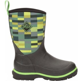 Muck Boots Black/Poison/Green/Pixel Print Youth's Element Boot - Size 10
