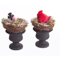 """Set of 2 Country Rustic Potted Nests with Christmas Birds in Urns 8.5"""""""
