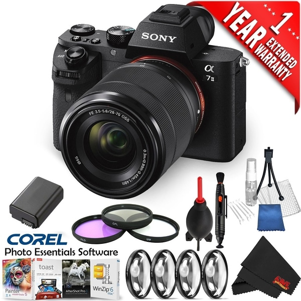 Sony Alpha a7 II Mirrorless(Intl Model) with Mac Essentials Software + 1 Year Extended Warranty
