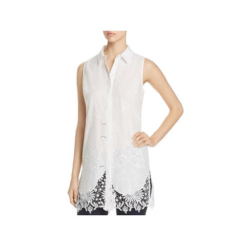 T Tahari Womens Sabina Blouse Lace Trim Embroidered