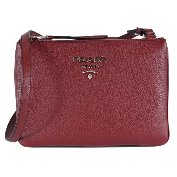 2d59c4eed240 Prada 1BH046 Cerise Vitello Leather Bandoliera Double Zip Crossbody Bag -  Red