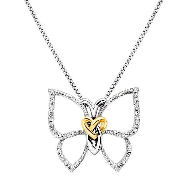 1/10 ct Love Knot Butterfly Pendant in Sterling Silver & 14K Gold