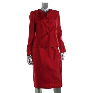Le Suit Womens Bordeaux Taffeta 2PC Skirt Suit - 10