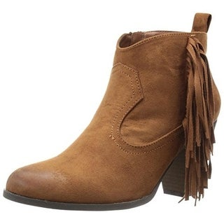 Qupid Womens Nixon Faux Suede Fringe Booties