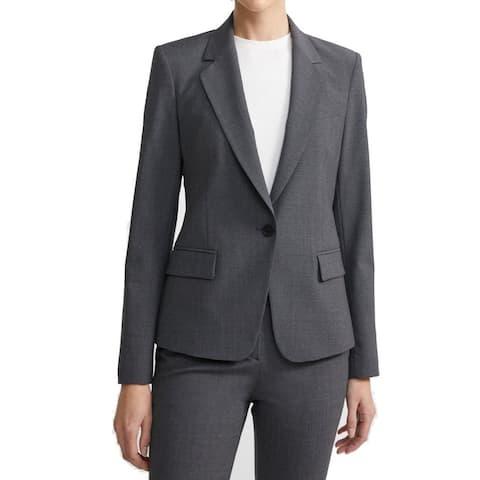 Theory Women Blazer Charcoal Wool Single-Button Notch-Lapel
