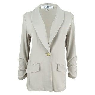 Kasper Women's Plus Size Single-Button Shawl-Collar Blazer - Clay