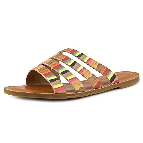 Lucky Brand Anika Women Open Toe Leather Tan Slides Sandal