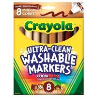 Crayola Non-Toxic Multi-Cultural Washable Marker, Conical Tip, Assorted Skin Tone Colors, Pack of 8
