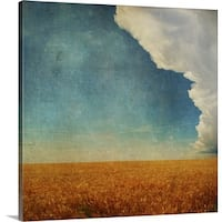 Premium Thick-Wrap Canvas entitled Wheat field with textured storm - Multi-color