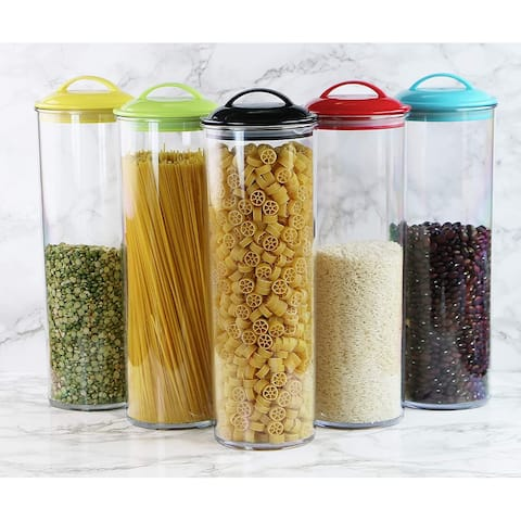 Reston Lloyd Spaghetti/Pasta Acrylic Canister with Air Tight Lid, Lemon - 3.75 x 3.75 x 13.5 inches