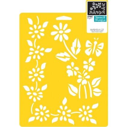 """Stencil Mania Stencil 7""""X10""""-Floral Accents"""