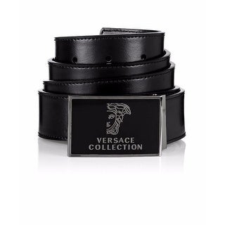 Versace Collection Black Leather Medusa Adjustable Belt 173