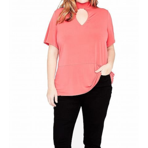 Rachel Roy Orange Women's Size 1X Plus Mock-Neck Keyhole Top