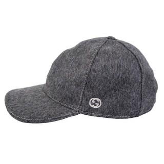 Gucci 353505 Men Dark Grey Felted Wool Red Green Band GG Baseball Cap Hat L