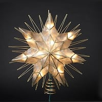 "14"" Lighted Capiz Sunburst 7-Point Star Christmas Tree Topper - Clear Lights - Gold"