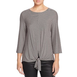 K&C Womens Casual Top Striped Tie Front