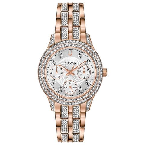 Bulova Women's 98N113 Multifunction Rosegold Crystal Accent Bracelet Watch - Two-tone