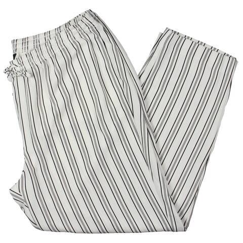 Lauren Ralph Lauren Womens Plus Kasander Pants Striped Mid Rise - White - 1X