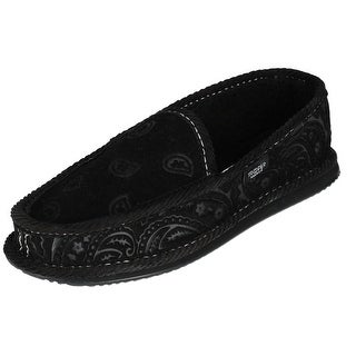 Trooper America Men's Black on Black Paisley Bandana Print House Shoe Slippers