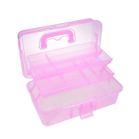 13-inch Tool Box with Tray and Organizers Includes Removable 10 Small Parts Pink