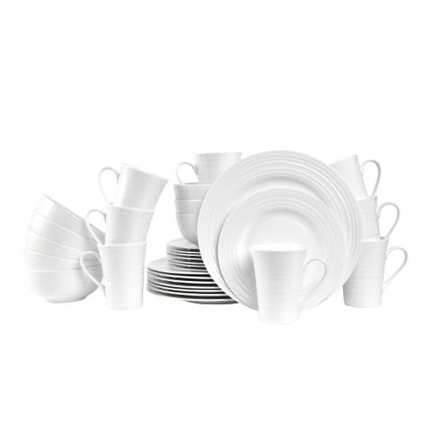 Stone Lain Bone China Round Swirl Design 32 Piece Dinnerware Set, Service for 8