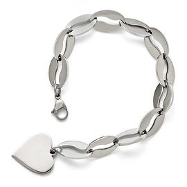 Chisel Stainless Steel Polished Heart Bracelet