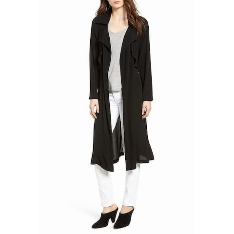 Trouve Black Womens Small S Ruffle Drape Front Belted Duster Jacket