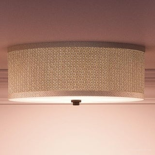 "Luxury Craftsman Flush Mount Ceiling Light, 6.5""H x 17""W, with Asian Style, Natural Materials, Black Silk Finish"