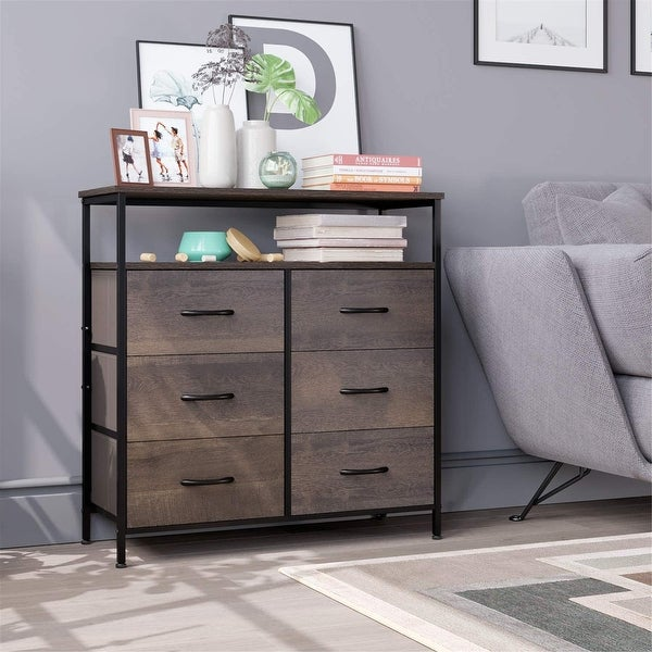 Dresser Chest with 6 Drawers, Wide Chest of Drawers with 2 Tier Wood Shelves, Sturdy Metal Frame. Opens flyout.