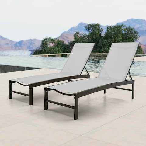 "Crestlive Adjustable Aluminum Chaise Lounge Chairs (Set of 2) - 75.79"" L x 24.61"" W x 13"" H"