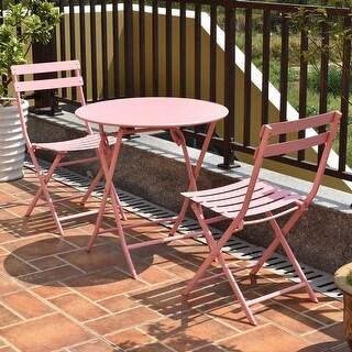Costway 3 PC Folding Table Chair Set Outdoor Patio Garden Pool Backyard Furniture Pink