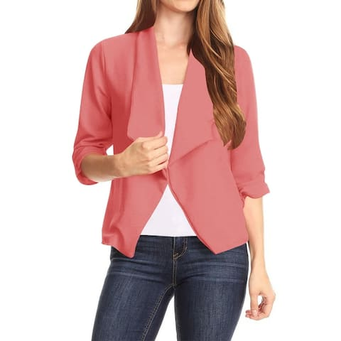 Women's Casual Office Wear Open Draped Solid Blazer Jacket