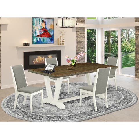 Modern Dining Table Set - Dining Table and Kitchen Parson Chairs - Linen White Finish (Pieces and Bench Option)