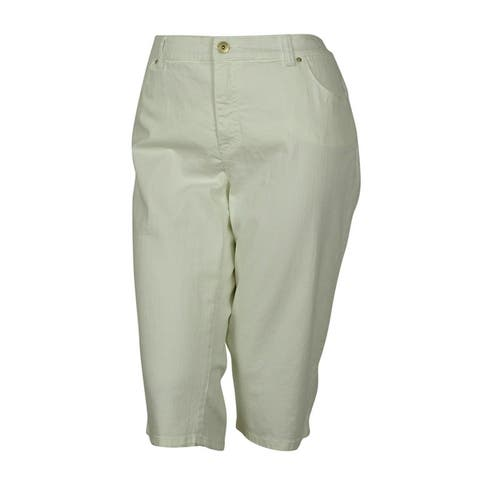 INC International Concepts Women's Slim Tech Fit Denim Fabric Crop Jeans - White