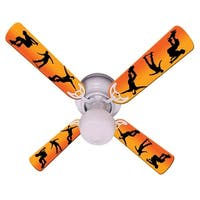 Orange Skateboarder Print Blades 42in Ceiling Fan Light Kit - Multi