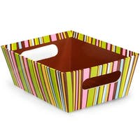 """Pack Of 6, Solid Chocolate Stripes Large Wide Base Market Trays 5.5"""" X 7.5""""X 3.5"""" For Gourmet Gift Baskets, Food Baskets"""