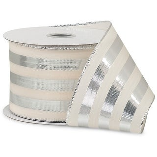 """Pack Of 1, Metallic Silver 2.5"""" X 10 Yards Cabana Stripes Ribbon 100% Polyester For Weddings, Christmas & Valentine's Day"""