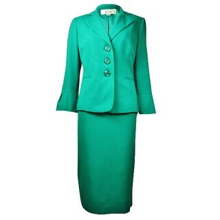 Le Suit Women's Country Club Solid Skirt Suit - new jade