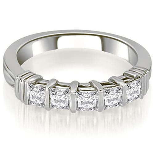 0.85 cttw. 14K White Gold Bar Setting Princess Cut Diamond Wedding Band
