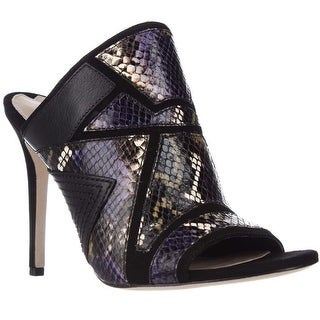Via Spiga Tarot Peep Toe Mule Dress Pumps, Black Mystrio Multi