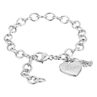 '#1 Mom' Heart Charm Link Bracelet with Diamonds in Sterling Silver