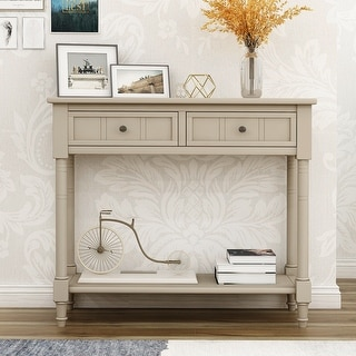 Traditional Retro Grey Console Table with Two Drawers and Bottom Shelf