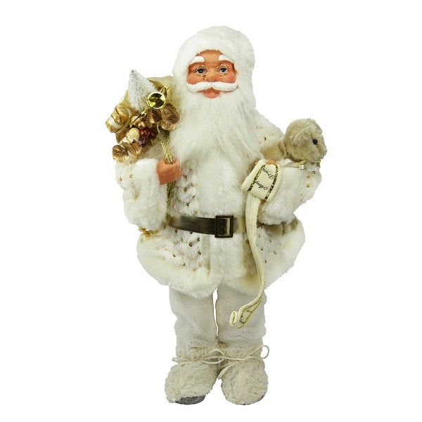 "19"" Winter Wonderland Nordic Santa Claus Christmas Table Top Figure - WHITE"